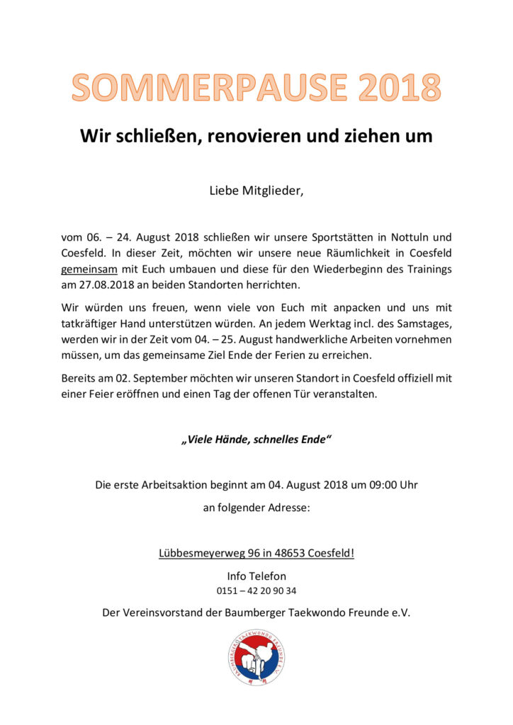 Sommerpause 2018