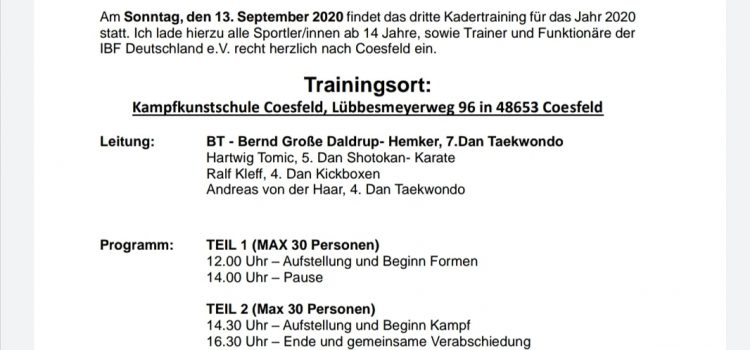 Termine im September: IBF-Kadertraining und Seminar