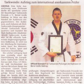 Presse: AZ-Bericht zur Kukkiwon Trainer-Qualifikation